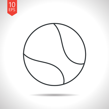 tennisball: Vector outline classic grey tennis ball icon on white background