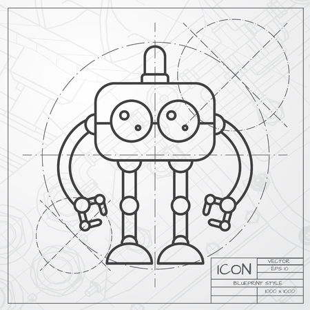 Vector classic blueprint of retro robot toy icon on engineer vector vector classic blueprint of retro robot toy icon on engineer and architect background malvernweather Images