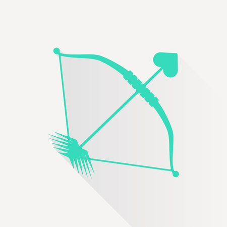 longbow: Vector green amour arrow icon on white background