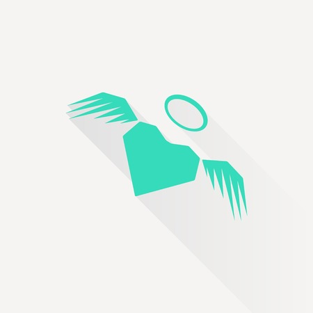 green heart: Vector green heart with wings icon on white background Illustration