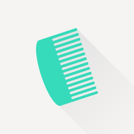 personal grooming: Vector green hairbrush icon on white background
