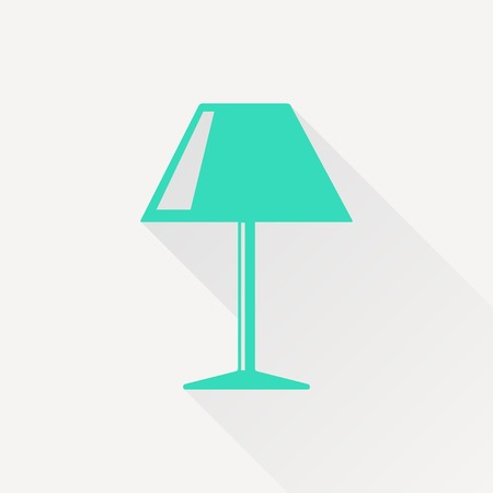 lampshade: Vector green reading-lamp icon on white background