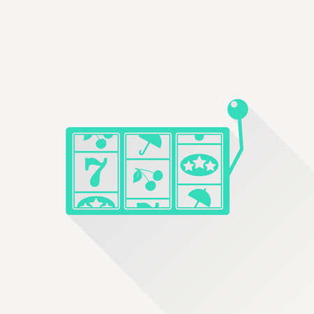 lever arm: Vector green slot icon on white background. Casino icon