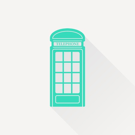 telephone box: Vector green telephone box icon on white background Illustration