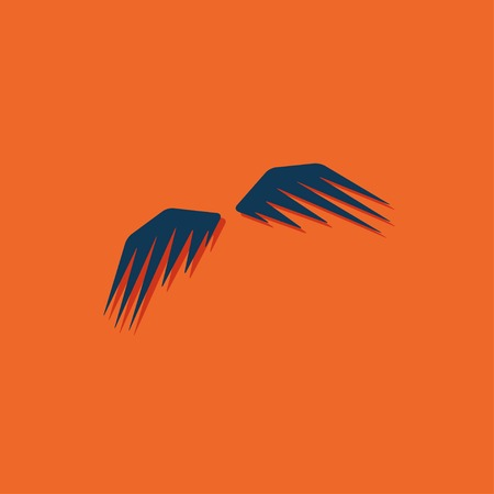 wings icon: Vector blue wings icon on orange background