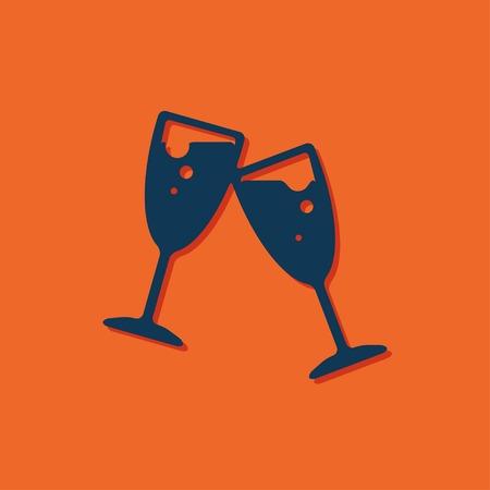 stemware: Vector blue stemware icon on orange background