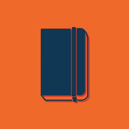 periodicals: Vector blue book icon on orange background