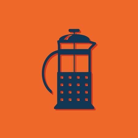 steel mill: Vector blue franch press icon on orange background Illustration