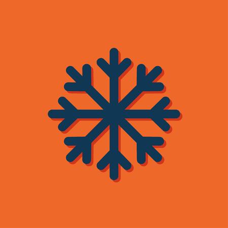 flocon de neige: Vecteur flocon bleu icône sur fond orange