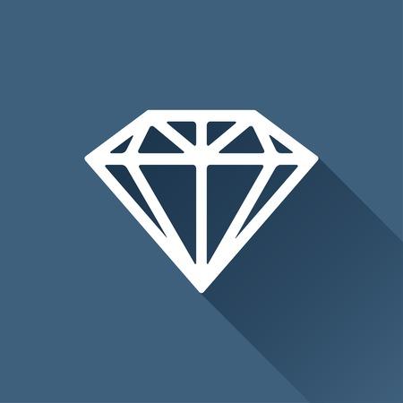 bijou: Vector white diamond icon on dark background Illustration
