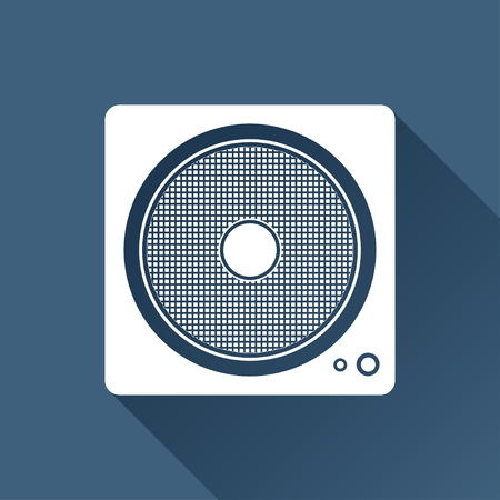 subwoofer: Vector white music icon on dark background