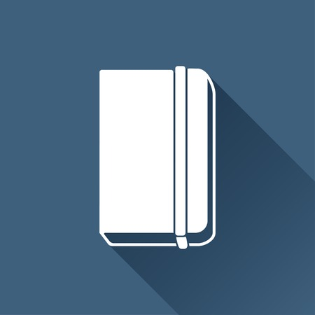 periodicals: Vector white book icon on dark background Illustration