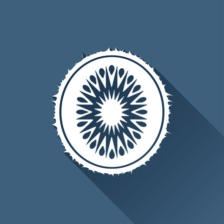 fruitage: Vector white kiwi icon on dark background
