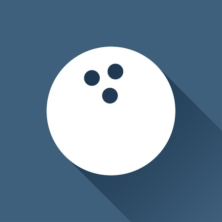 hole in one: Vector white bowling ball icon on dark background