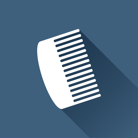 personal grooming: Vector white hairbrush icon on dark background Illustration