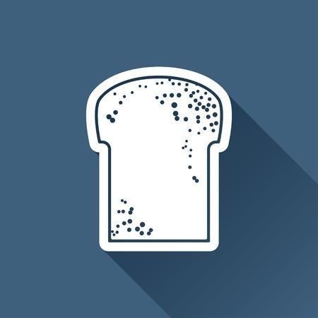 white bread: Vector white bread icon on dark background Illustration