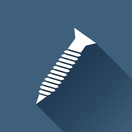 fasteners: Vector white screw icon on dark background