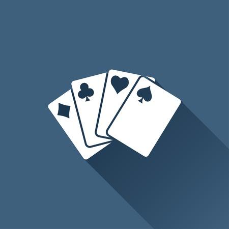 black jack: Vector white game cards icon on dark background