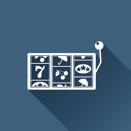 lever arm: Vector white slot icon on dark background. Casino icon Illustration