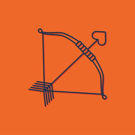 bowstring: Vector blue amour arrow icon on orange background