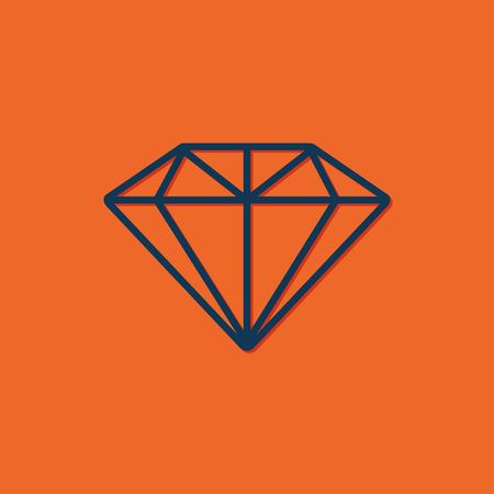 spoil: Vector blue diamond icon on orange background Illustration