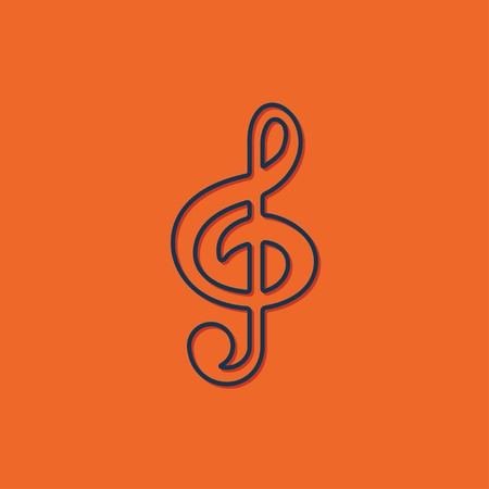 silhouette sign: Vector blue music icon on orange background