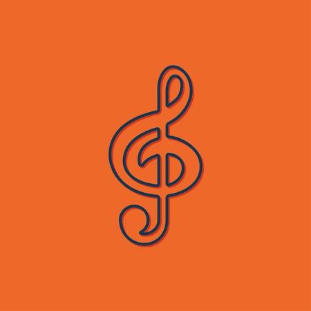 icon silhouette: Vector blue music icon on orange background