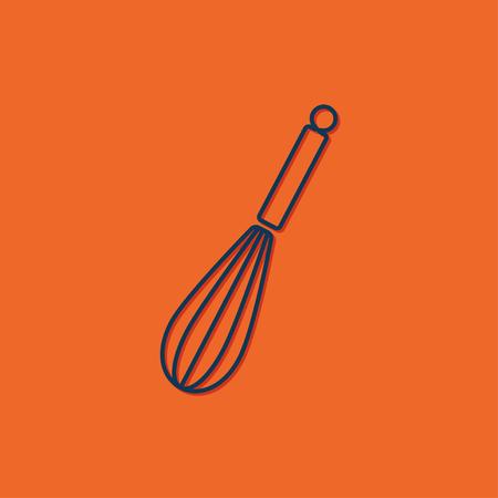 corolla: Vector blue corolla icon on orange background