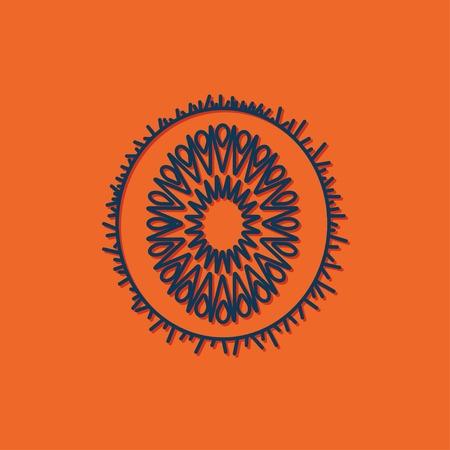 fruitage: Vector blue kiwi icon on orange background