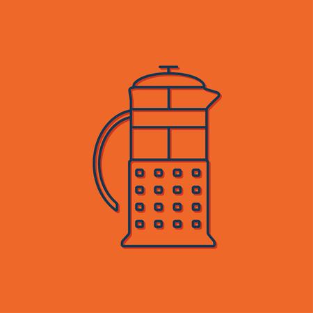 masher: Vector blue franch press icon on orange background Illustration
