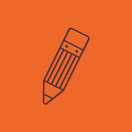 blue pen: Vector blue pen icon on orange background