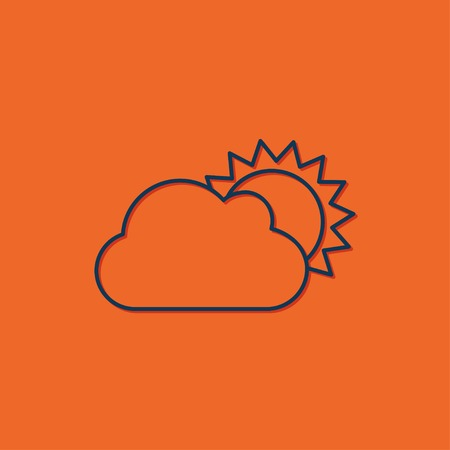 cloudiness: Vector blue cloudiness icon on orange background Illustration