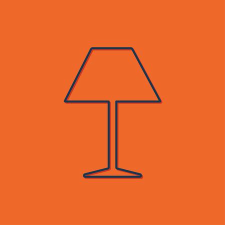 lampshade: Vector blue reading-lamp icon on orange background