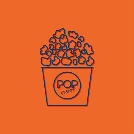 a cartoon film: Vector blue pop corn icon on orange background Illustration