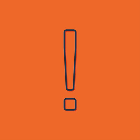 emphasis: Vector blue exclamation mark icon on orange background