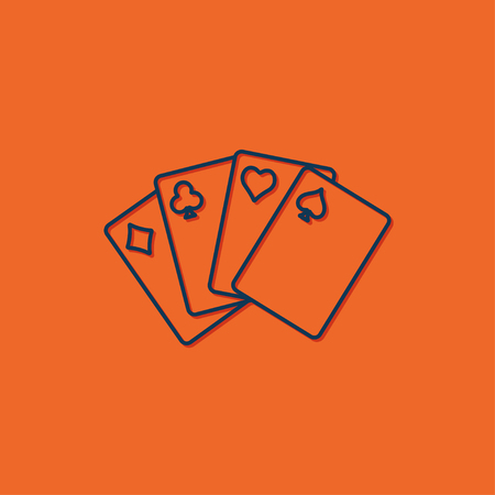 game cards: Vector blue game cards icon on orange background
