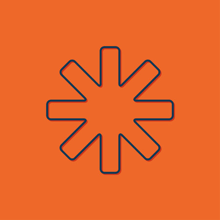 estrella azul: Vector blue star icon on orange background