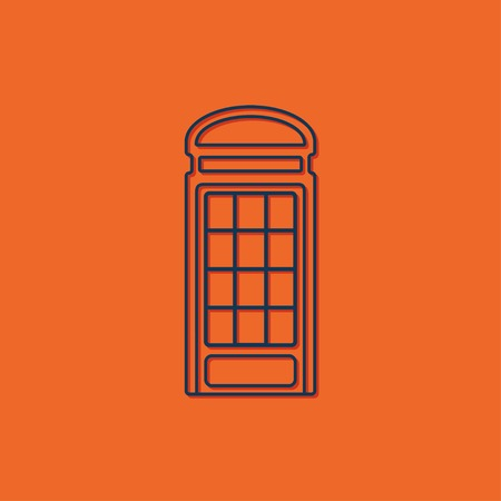 phonebox: Vector blue telephone box icon on orange background