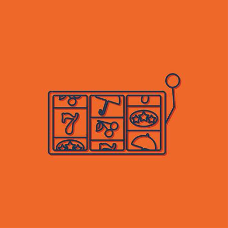lever arm: Vector blue slot icon on orange background. Casino icon Illustration