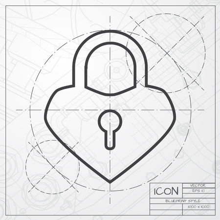 secret codes: Vector blueprint of lock heart icon on engineer or architect background Illustration