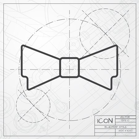 round collar: Vector blueprint of bow-tie icon on engineer or architect background Illustration