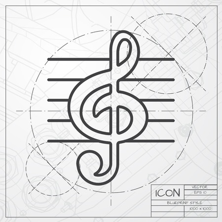 eight note: Vector blueprint of music icon on engineer or architect background