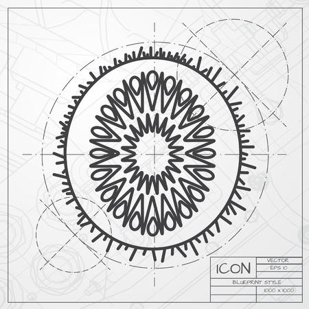 fruitage: Vector blueprint of kiwi icon on engineer or architect background Illustration