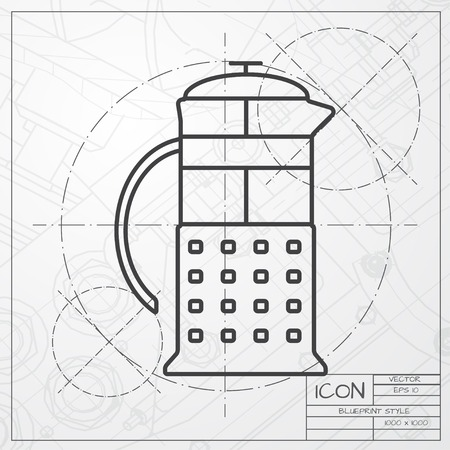 masher: Vector blueprint of franch press icon on engineer or architect background