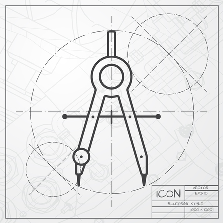 compasses: Vector blueprint of compasses icon on engineer or architect background