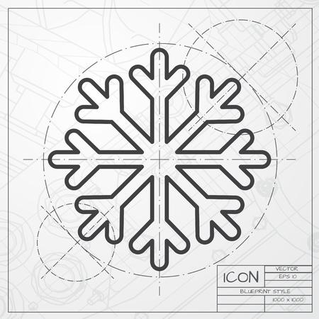 arquitecto: modelo del vector del icono del copo de nieve en ingeniero o arquitecto fondo