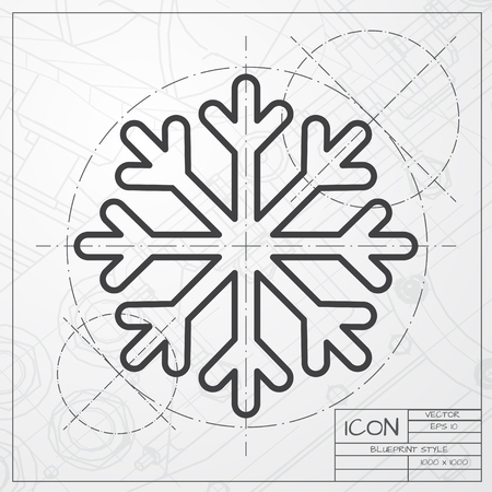 architect: Vector blueprint of snowflake icon on engineer or architect background