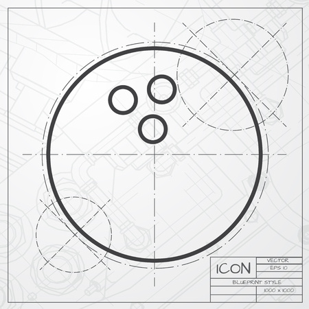 sports shell: Vector blueprint of bowling ball icon on engineer or architect background