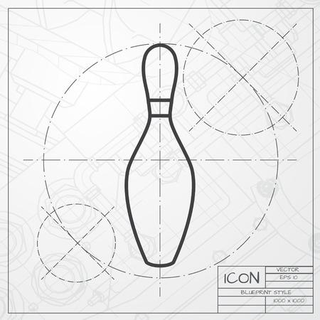 kegelen: Vector blueprint of skittle icon on engineer or architect background Stock Illustratie