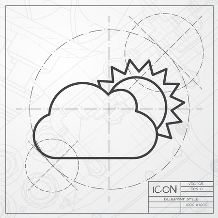 cloudiness: Vector blueprint of cloudiness icon on engineer or architect background Illustration